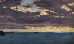 "Arthur Hughes (1832-1915) ""From Pentire Point,"" c. 1909 Oil on panel"