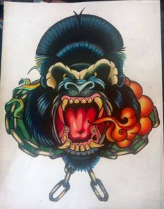 Tattoo sketch monkey gorilla. By Roxy StockholmInk Tattoo Studio Stockholm, Sweden