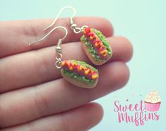 Hot Dog Hanging Earrings,Hot Dog Earrings, Hot Dog Jewelry, Food Jewelry,Polymer Clay Food, Miniature Food, Nickel Free by sweetmuffinsshop on Etsy