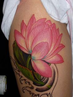Lotus, thigh tattoo on TattooChief.com