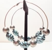 Basketball Wives inspired large hoops with oval spiral beads and round silver metallic beads  $8.25