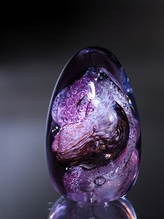 Art-Glass Egg Paperweight in a Gorgeous mix of Purple, Violet & Pink ♥≻★≺♥LoVe! *artist??
