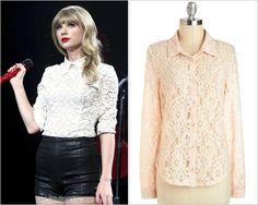 The RED Tour | State of Grace/Holy Ground/Red GET THE LOOK:ModCloth Fourth Course Top - $29.99 Thankswandereduponwonderland! Taylors top here is yet another custom by RED Tour costume designer Marina Toybina, but you can grab a look-a-like here from ModCloth.