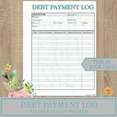 Debt Payment Log ~ Debt Tracker ~ Debt Snow Ball ~ See your progress each time you log a payment! Fillable on computer! Budget Envelopes, Money Envelopes, Budgeting System, Budgeting Money, Date, New Balance, Money Envelope System, Monthly Budget Printable, Debt Tracker