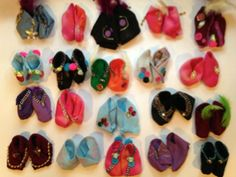 Cedar Hills High School made baby booties for our art exhibit (February 20, 2014)