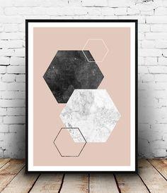 Geometric print, Hexagon print, Marble decor, Pink and black, Minimalist print, Scandinavian design, Watercolor print, Home decor, wallart