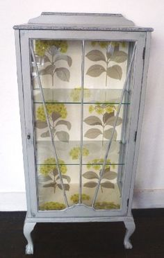 Upcycled 1930s display cabinet. Perfect way to display vintage china. Love, love!