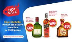 Para este Hot Sale 2017 en Walmart ahorra $500 pesos al compras 3 botellas de Tequila Don Julio, Whisky Buchanans y Whisky Johnnie Walker de 750 ml.