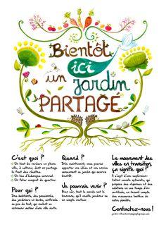 illustration affiche jardin partage lyon Sustainable City, Garden Signs, Urban Farming, Permaculture, Vegetable Garden, Green, Photo Blog, Lyon, Flyers