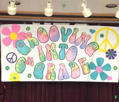 Poster for 5th grade end of the year party. Tie-dye and 60s theme.