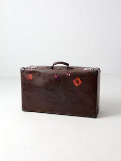FREE SHIP vintage brown suitcase, 1930s Globetrotter luggage