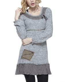 Look what I found on #zulily! Gray Ruffle Wool-Blend Tunic - Women by Simply Couture #zulilyfinds
