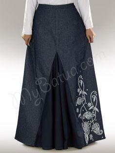 Beautiful Embroidered Blue Party Wear Skirt | MyBatua.com photo: Dina Denim Skirt !   Style No : As-012   Shopping Link  :  http://www.mybatua.com/dina-denim-muslim-islamic-skirt   Available Sizes XS to 5XL (size chart: http://www.mybatua.com/size-chart/#ABAYA/JILBAB)   •A-line skirt. •Elastic waist on back for good fit. •Beautiful embroidery in front (one side). •Godet in center front of cotton(sateen) fabric. •Colour: Blue •Fabric: Denim & ...