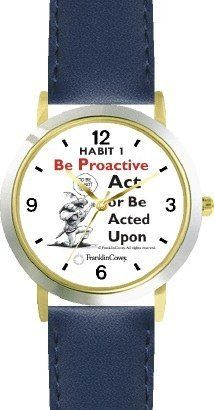 Habit 1 - To Be or Not to Be (English Text) - DELUXE TWO-TONE WATCH from THE 7 HABITS - WATCH COLLECTION BY WATCHBUDDY® - Arabic Numbers - Blue Leather Strap-Size-Children's Size-Small ( Boy's Size & Girl's Size ) WatchBuddy. $49.95. Save 38%!