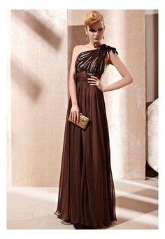 Brown Asymmetric Evening Dress