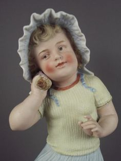 "12"" Antique Heubach German Bisque Piano Baby Girl w Sea Shell Figurine Signed"