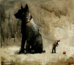 Visual artist Samuli Heimonen The ball. Acrylic and oil on canvas. 45cm x 50cm 2010
