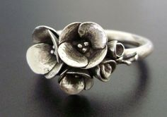 A Tiny Bouquet of Poppies - Handsculpted, Cast Sterling Silver Ring - READY TO SHIP (Sizes 6 to 7.5). $188.00, via Etsy.