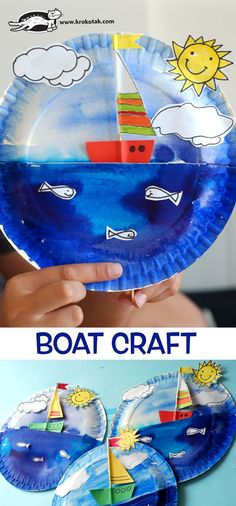 Boat Craft (krokotak) watch video: how to make: see more: Kids Crafts, Boat Crafts, Ocean Crafts, Diy And Crafts Sewing, Summer Crafts, Crafts For Teens, Diy For Kids, Arts And Crafts, Paper Plate Crafts