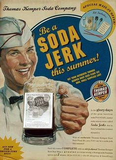 "The name ""soda jerk"" came from the jerking movement the server would use on the soda fountain handle when adding water. Description from whatabeautifulfeeling.blogspot.com. I searched for this on bing.com/images"