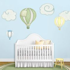 These hot air balloon wall sticker decals will look adorable for your your baby room wall mural! This set comes with 3 matching clouds and it is