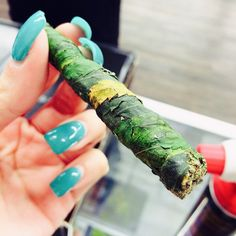 Thai sticks are 100% cannabis; nugs compressed, dipped in hash oil, and rolled w/ fan leaves Repinned by Fun Weed Pics @funweedpics