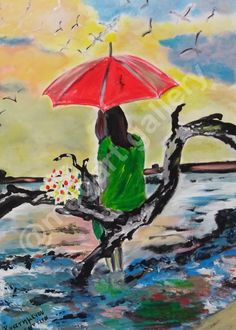 Artist: Konstantina Kratimenou Title: Woman On The Shore dim oilpainting Joomla Templates, Fingerprints, Woman, Gallery, Artist, Painting, Painting Art, Paintings, Amen