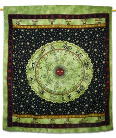 Zodiac Tapestry Large Wall Art Hippie Tapestry Wall Hanging - Green X 72 Inches) Bohemian Wall Tapestry, Bohemian Wall Decor, Indian Tapestry, Mandala Tapestry, Tapestry Wall Hanging, Hippie Tapestries, Wall Hangings, Tapestry Bedding, Dorm Tapestry