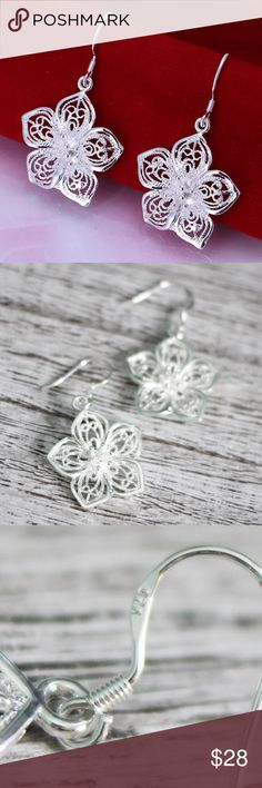 Sterling Silver Flower Earrings Adorable and so pretty! Stamped 925. Brand new Jewelry Earrings