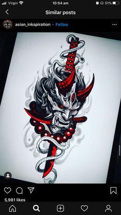 Geisha Tattoo Design, Koi Tattoo Design, Japan Tattoo Design, Tattoo Design Drawings, Samurai Tattoo Sleeve, Dragon Sleeve Tattoos, Best Sleeve Tattoos, Body Art Tattoos, Oni Tattoo
