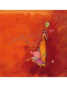 """Gaëlle Boissonnard carte postale carrée (14 cm) """"La fille et les serpentins au vent"""""""