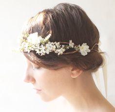 Flower crown, Woodland wedding accessory, Bridal hair crown, Bridal headpiece - SONATA. $75.00, via Etsy.