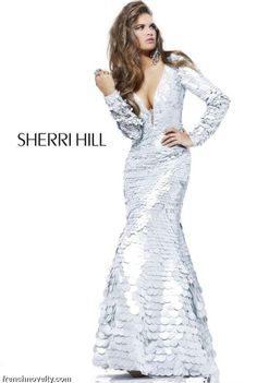 Sherri Hill Silver Long Sleeve Evening Dress with Plunging V Neck ...