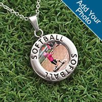 Softball Circle Necklace Your Photo - Beast on the diamond, beauty off it?  We made this necklace just for you.