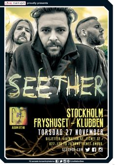 SEETHER | 27 nov | Stockholm, Klubben – Fryshuset | #Seether #artwork #livenationswe