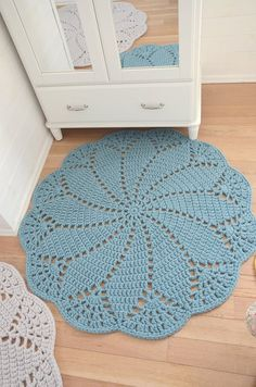 Boho style 566116615662035846 - Light Blue Round Crochet Doily Rug Wool Felt – Oversized boho doily rug – Retro style giant doily rug – Boy nursery rug Source by eidrasa Crochet Doily Rug, Crochet Rug Patterns, Crochet Carpet, Crochet Round, Boy Crochet, Crochet Coaster, Thread Crochet, Dress Patterns, Wool Rug