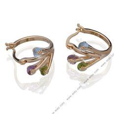 Women Golden Hoop 18KGP Rainbow Crystal Earrings Ear Clip Stud #earrings #eozy