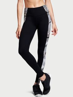 Activewear Bottoms Activewear Cooperative Victoria's Secret Sport Knockout Black Gray Cutout Leggings Size Medium Euc