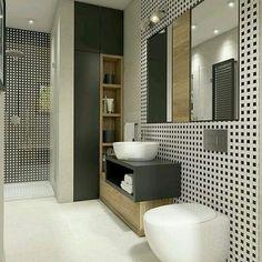 Booom dia Sábado! Lindeza de banheiro com preto e madeirado! Super estiloso 😍😍 Autoria Desconhecida