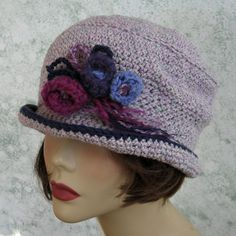 Womens Crochet Hat With Delicate Floral Trim by kalliedesigns