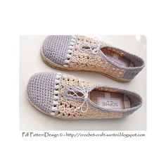 Crochet home-shoes; The Pearl-Slippers. Handmade fabric-covered insoles inserted, tailored handmade Cord-Soles attached. Ready for street-wear!