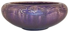 Rookwood Pottery 1914 Matte Purple Repeating Fish Bowl 2150