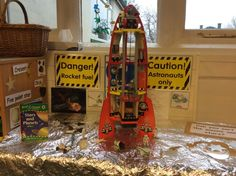 Space rocket small world play at Springmead School, Beckington, Somerset, UK.