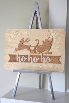 ARC Crafts Nov 30 Blog post Ho Ho Ho home decor using BARC Birch and Cherry wood and Darice embossing folders.