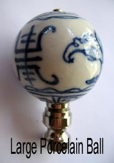 """$10.25 Lamp Finials: Lamp Finial; Large Blue and White Ball. 2 1/2"""" tall overall"""
