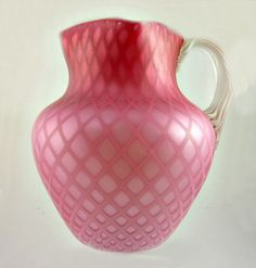 Antique Diamond Quilted Satin Glass Pink MT Washington Pitcher Large | eBay