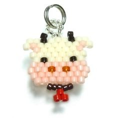 Beaded Cow Charm / Pendant by Bead Crumbs