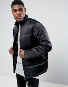 ASOS Puffer Jacket With Gold Zips in Black