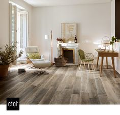 Barn Wood - #Grey #Floor #Tile #Living #Rustic