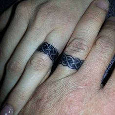 "Try matching Celtic bands. | 33 Impossibly Sweet Wedding Ring Tattoo Ideas You'll Want To Say ""I Do"" To"